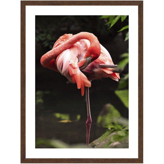 Quadro de Flamingo Decorativo com Moldura Estilo Rústico 60x80 cm