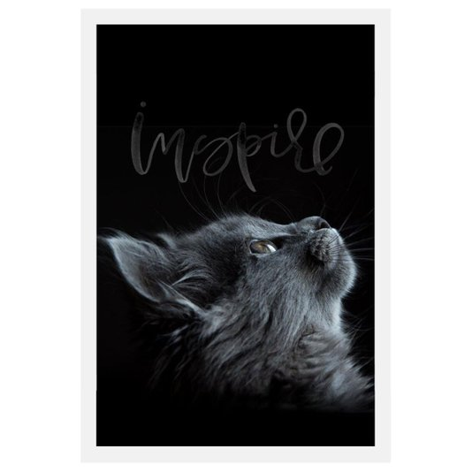 Quadro de Gato Decorativo com Moldura Branca e Palavra Inspire 40x60cm