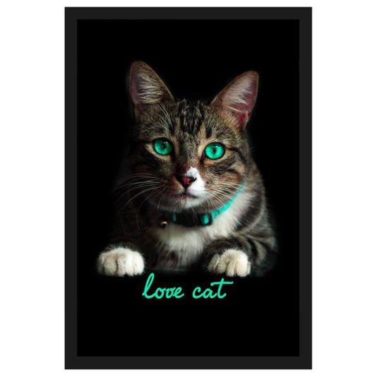 Quadro de Gato Decorativo com Moldura Preta e Frase Amo Gato 40x60cm