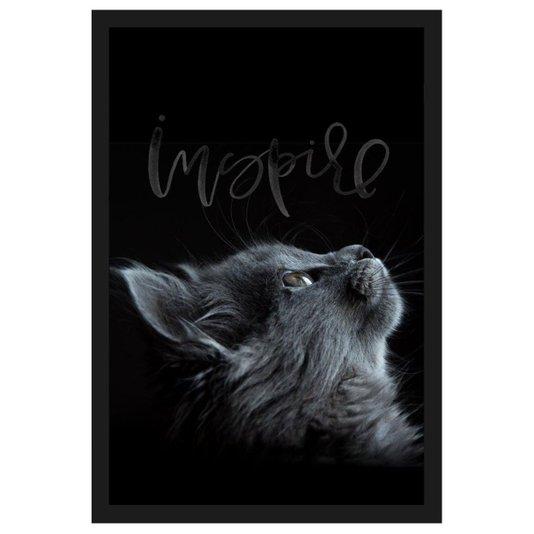 Quadro de Gato Decorativo com Moldura Preta e Palavra Inspire 40x60cm