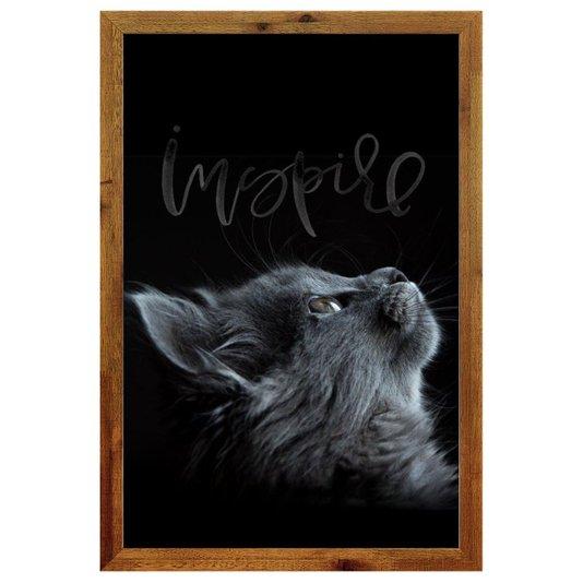 Quadro de Gato Decorativo com Moldura Rústica e Palavra Inspire 40x60cm