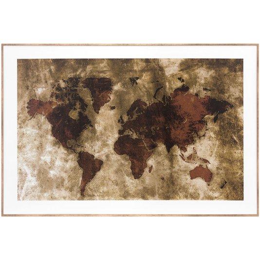 Quadro De Mapa Envelhecido com Moldura Bronze 90x60cm