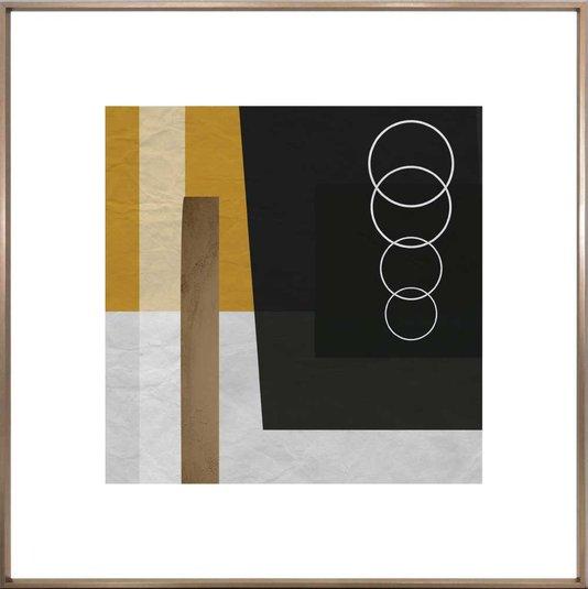 Quadro Decorativo Abstrato Bronze Geométrico Círculos 90x90 cm
