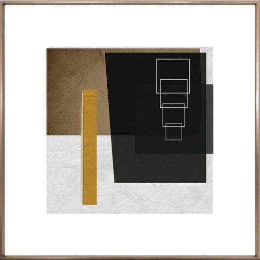 Quadro Decorativo Abstrato Bronze Geométrico Quadrados 90x90 cm