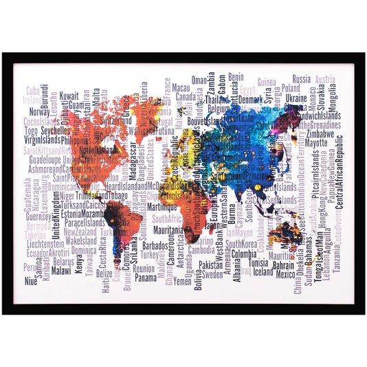 Quadro Decorativo Abstrato Mapa Mundo 70x50cm