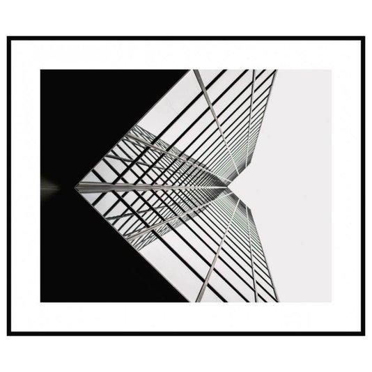 Quadro Decorativo Arquitetônico com Moldura Preta Fachada de Prédio 80x60cm