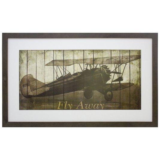 Quadro Decorativo Avião Antigo Fly Away 75x45cm