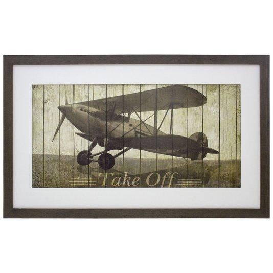 Quadro Decorativo Avião Antigo Take Off 75x45cm