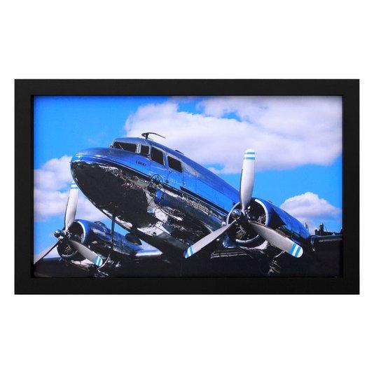 Quadro Decorativo Avião Cromado 50x30cm