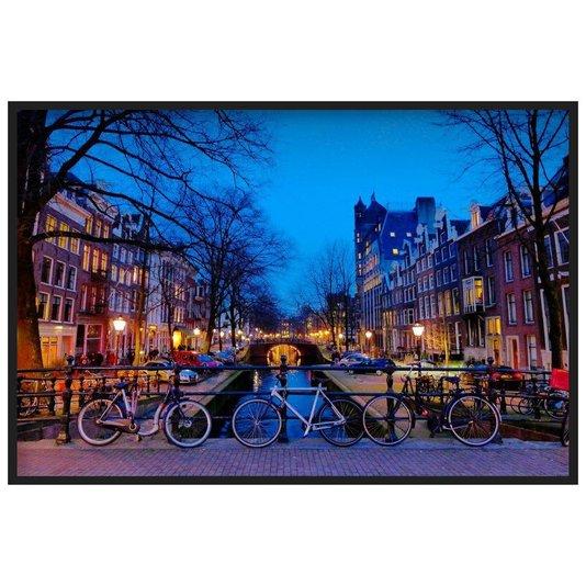 Quadro Azul Canal em Amsterdam Ao Entardecer 140x100cm
