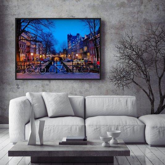 Quadro Decorativo Canal em Amsterdam ao Entardecer 140x100cm