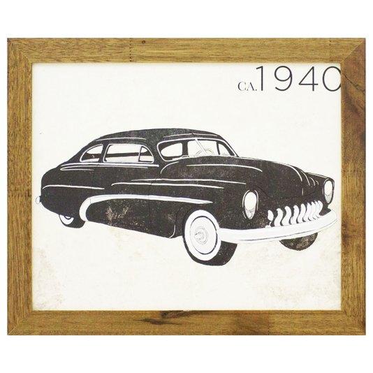 Quadro Decorativo Carro Antigo Preto de 1940 - 40x30cm