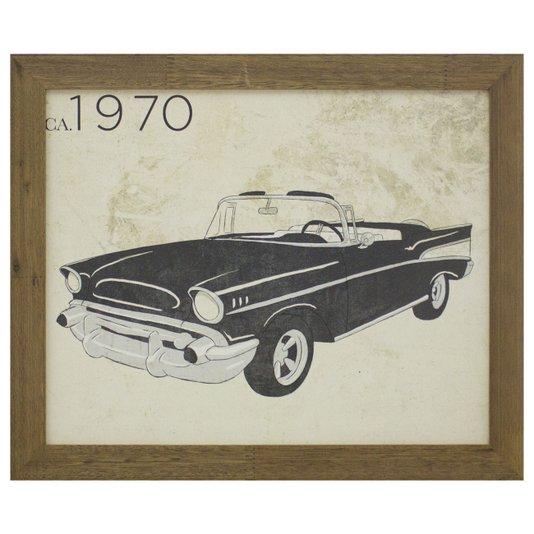 Quadro Decorativo Carro Antigo Preto de 1970 - 40x30cm