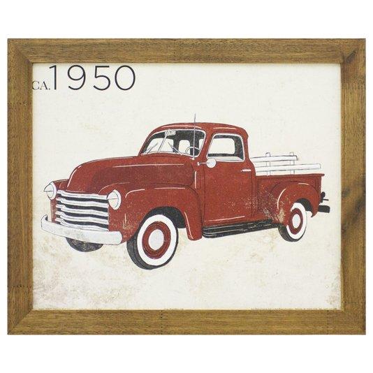 Quadro Decorativo Carro Antigo Vermelho de 1950 - 40x30cm