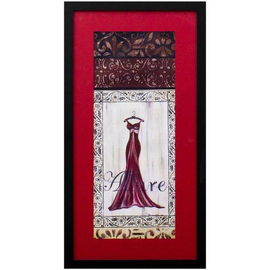 Quadro Decorativo Closet Vestido Vermelho Fascinação 30x60cm