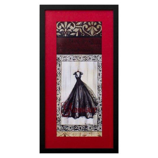 Quadro Decorativo Closet Vestido Vermelho Glamour 30x60cm