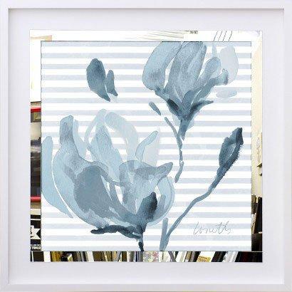 Quadro Decorativo com Espelho Arte Floral Flores Azuis 50x50 Cm