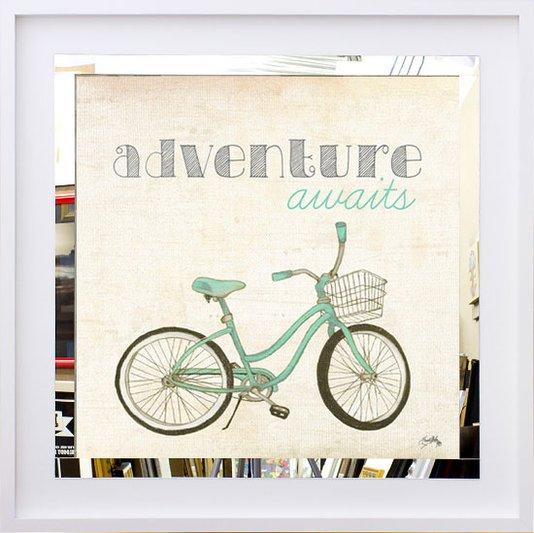 Quadro Decorativo com Espelho Bicicleta e Frase 50x50 cm