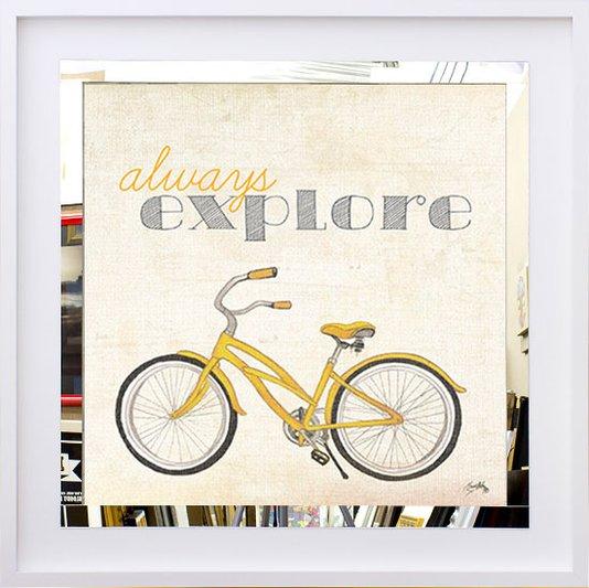 Quadro Decorativo com Espelho Bicicleta e Frase Sempre Explore 50x50 cm
