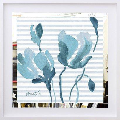 Quadro Decorativo com Espelho Flores Azuis em Fundo Listrado 50x50 cm