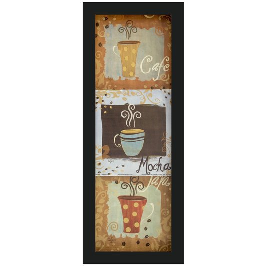 Quadro Decorativo com Imagem Sobreposta Café, Mocha e Java 15x45cm