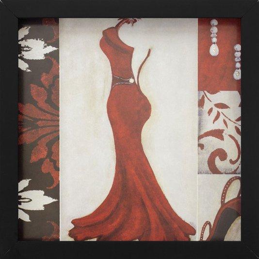 Quadro Decorativo com Imagem Sobreposta Vestido Longo Vermelho Aberto com Detalhe em Strass 30x30cm