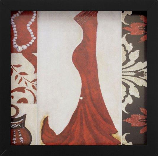 Quadro Decorativo com Imagem Sobreposta Vestido Longo Vermelho Detalhe em Strass 30x30cm