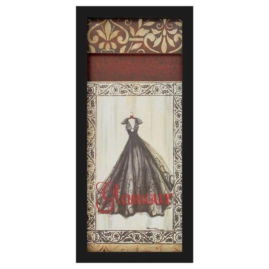 Quadro Decorativo com Imagem Sobreposta Vestido Preto Glamour 20x50cm