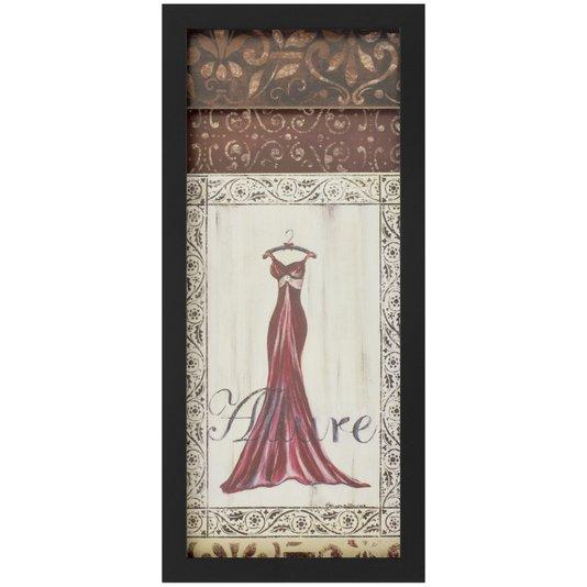 Quadro Decorativo com Imagem Sobreposta Vestido Vermelho 20x50cm