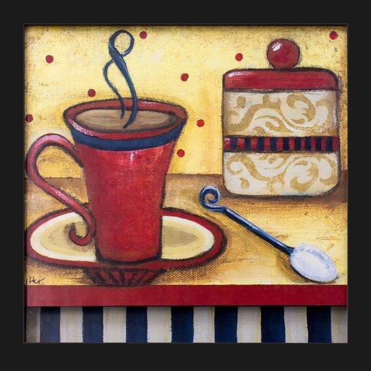 Quadro Decorativo com Imagem Sobreposta Xícara de Café Vermelha 30x30cm