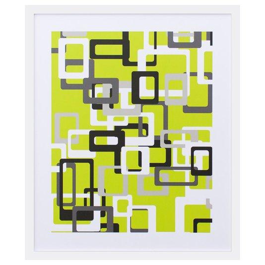 Quadro Decorativo com Impressão Personalizada Abstrata Retângulos 50x60cm