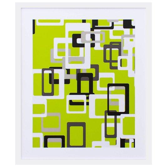 Quadro Decorativo com Impressão Personalizada Retângulos em Fundo Verde 50x60cm