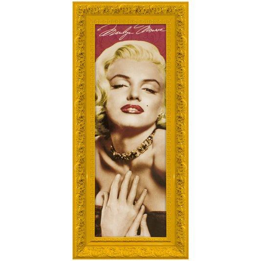 Quadro Decorativo com Moldura Amarela Retrô Marilyn Monroe 50x110cm