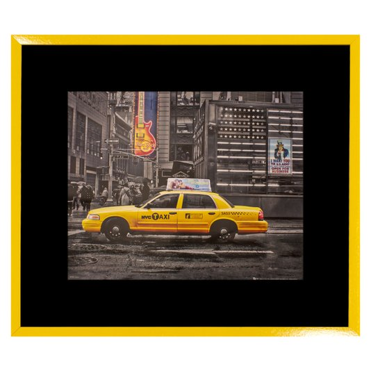 Quadro Decorativo com Moldura Amarela Táxi de Nova York 75x65cm