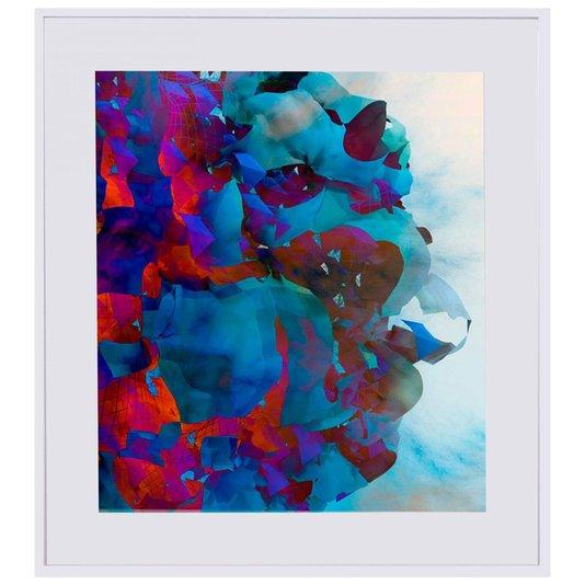 Quadro com Moldura Branca Arte Abstrata Colorida 90x100cm