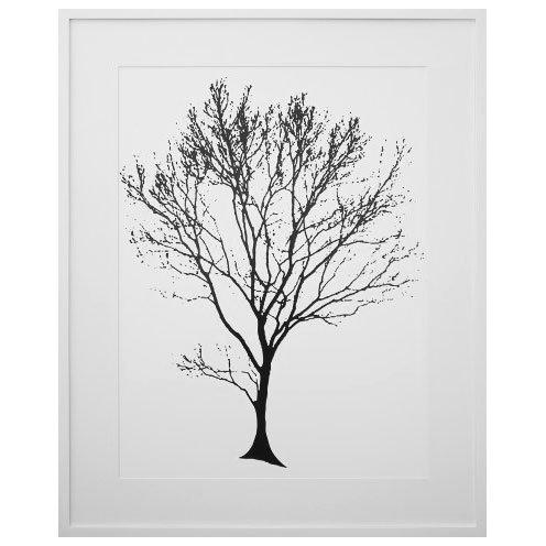 Quadro Decorativo com Moldura Branca Árvore Preta em Fundo Branco 80x100cm