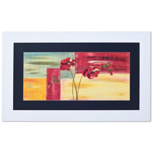 Quadro com Moldura Branca Flores Vermelhas Abstrato 90x50cm