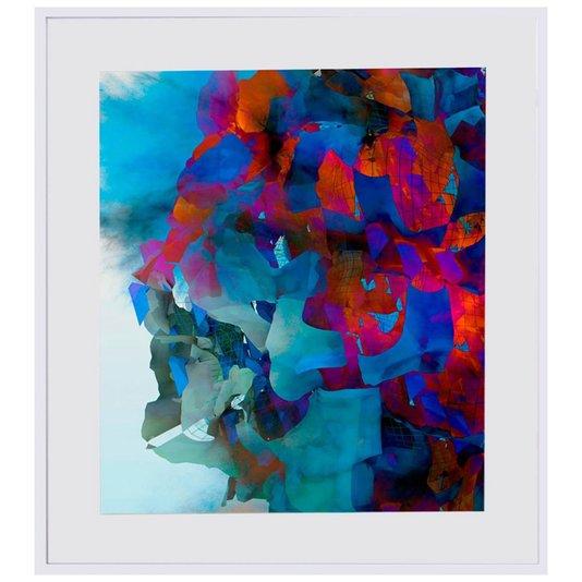 Quadro com Moldura Branca Multicolorido Abstrato 90x100cm