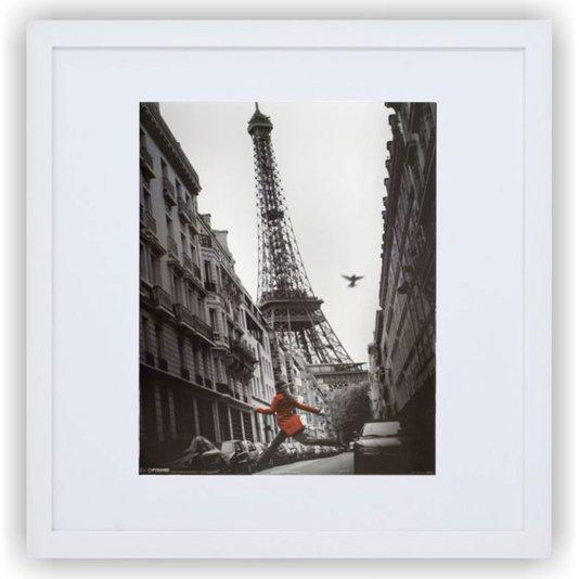 Quadro Decorativo com Moldura Branca Paris França Torre Eiffel 70x70cm