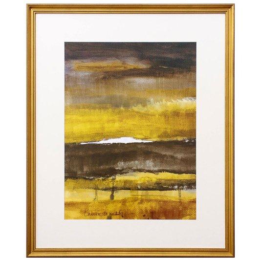 Quadro Decorativo com Moldura Dourada Arte Abstrata 70x80cm