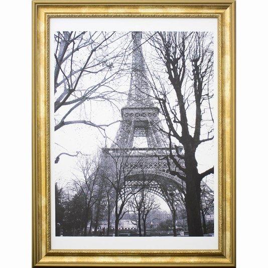 Quadro Decorativo com Moldura Dourada Torre Eiffel em Preto e Branco 60x80cm