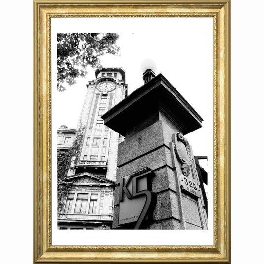Quadro com Moldura Dourada Torre Relógio em Shanghai 60x80cm