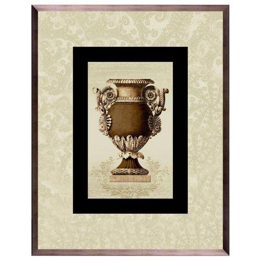 Quadro de Ânfora Marrom com Moldura na Cor Bronze 75x95cm