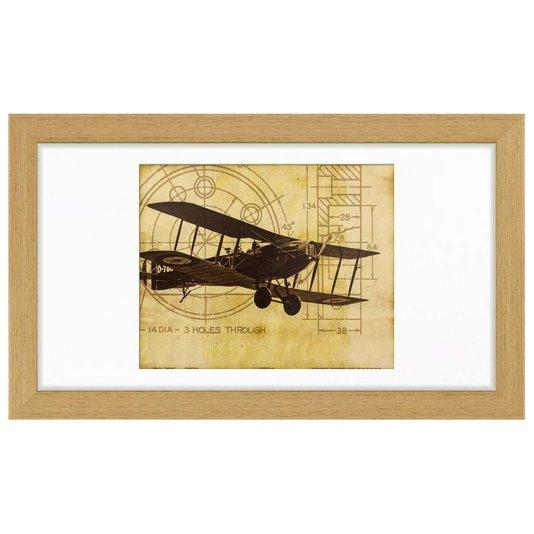 Quadro Decorativo com Moldura na Cor Carvalho Avião Antigo 70x40cm