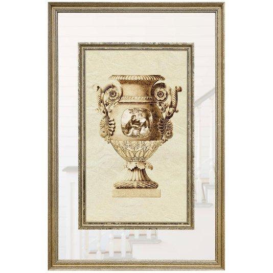 Quadro Decorativo com Moldura Prata Ânfora com Ilustração 50x75cm