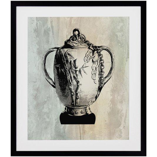 Quadro Decorativo com Moldura Preta Ânfora em Tom Envelhecido 50x60cm
