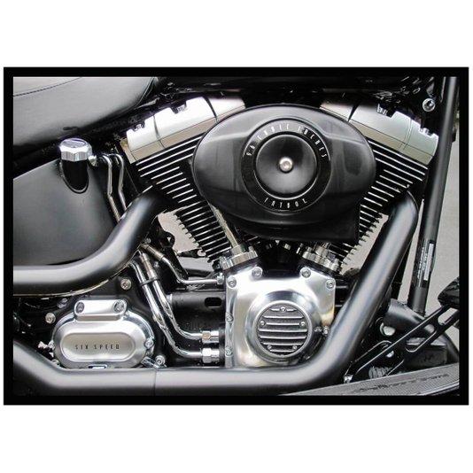 Quadro Decorativo com Moldura Preta Detalhes Motor de Motocicleta 70x50cm