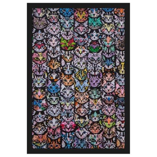 Quadro Decorativo com Moldura Preta Diversos Gatos Coloridos 40x60cm