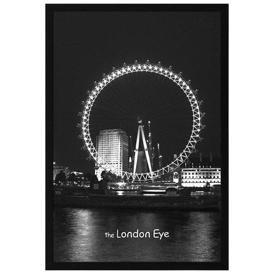 Quadro Decorativo com Moldura Preta London Eye em Preto e Branco 60x90cm