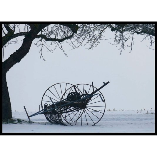 Quadro Decorativo com Moldura Preta Paisagem de Inverno Árvore sem Folhas 140x100cm